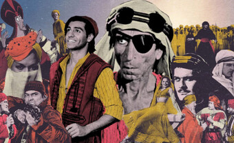 A collage of stereotypical Middle Eastern figures