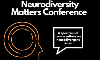 outline of head with text neurodiversity matters conference.