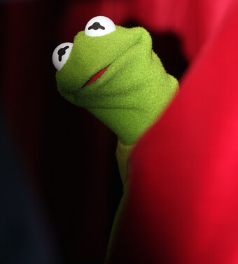 Kermit the Frog behind a curtain