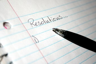 paper with resolutions... written on it