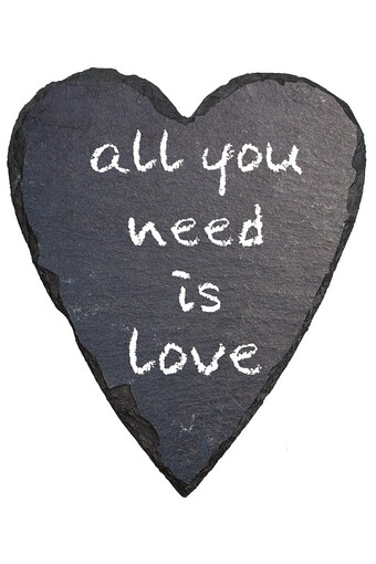 heart with all you need is love written on it