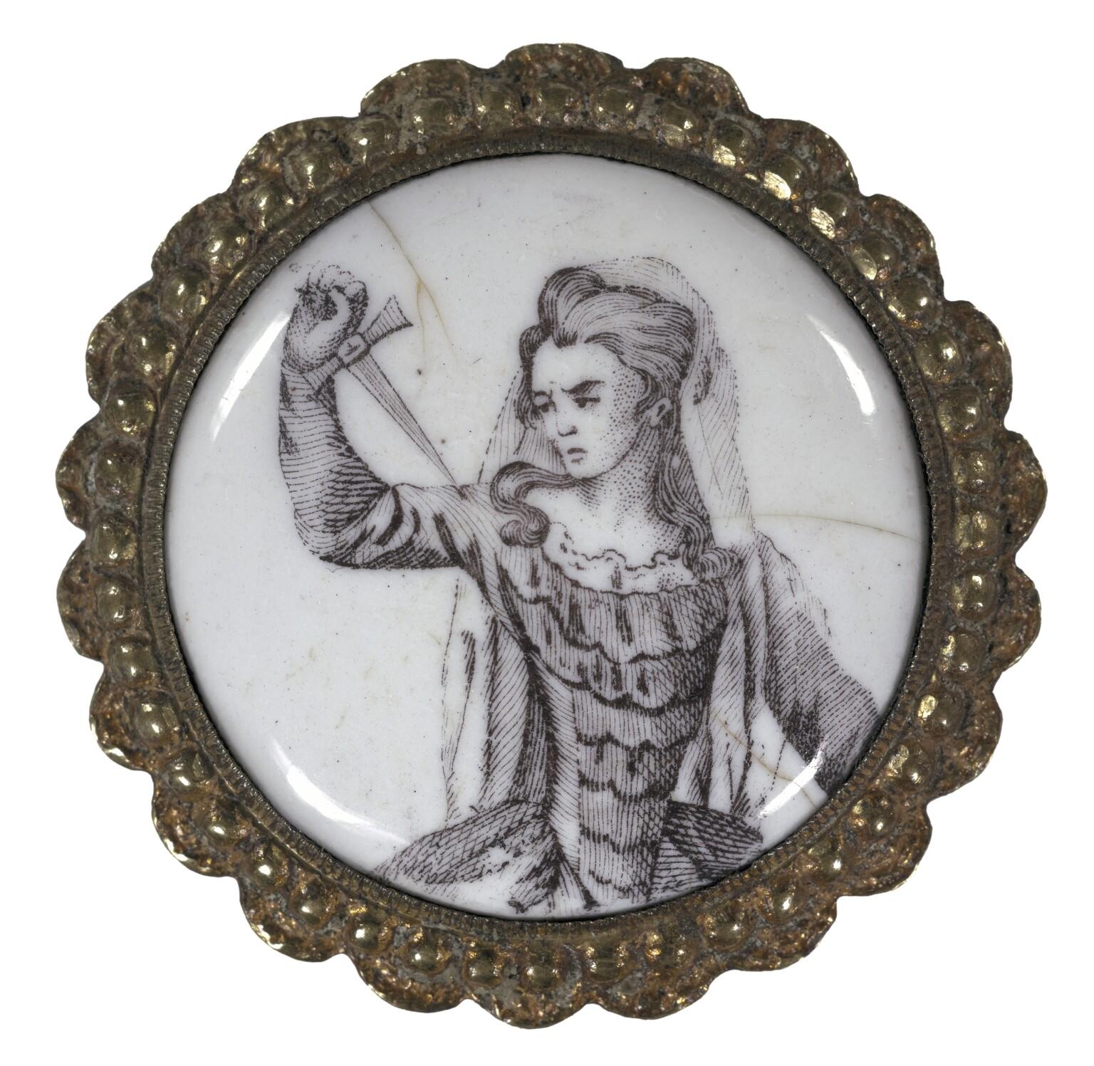 drawing of woman in circular frame