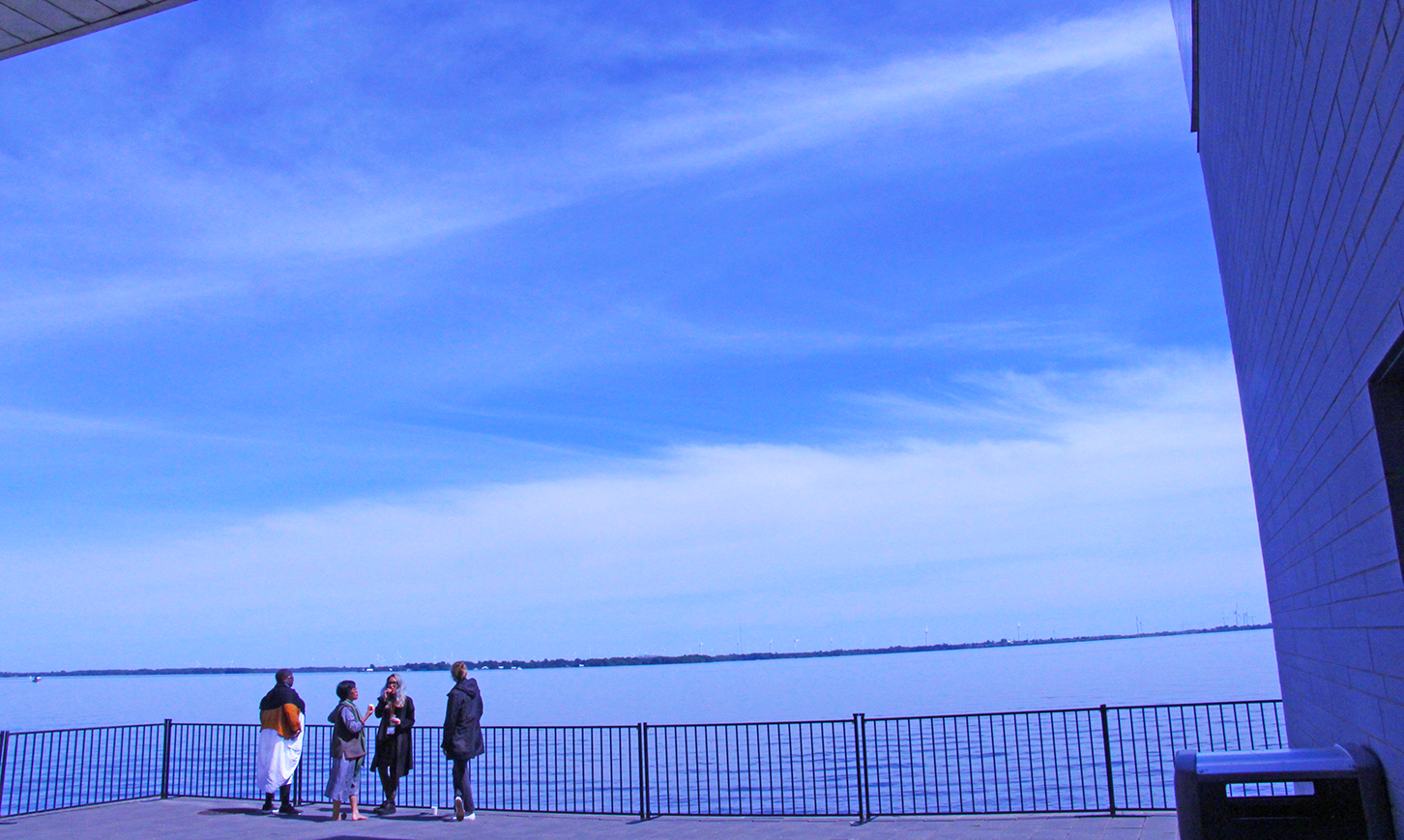 four people standing on a deck overlooking lake ontario