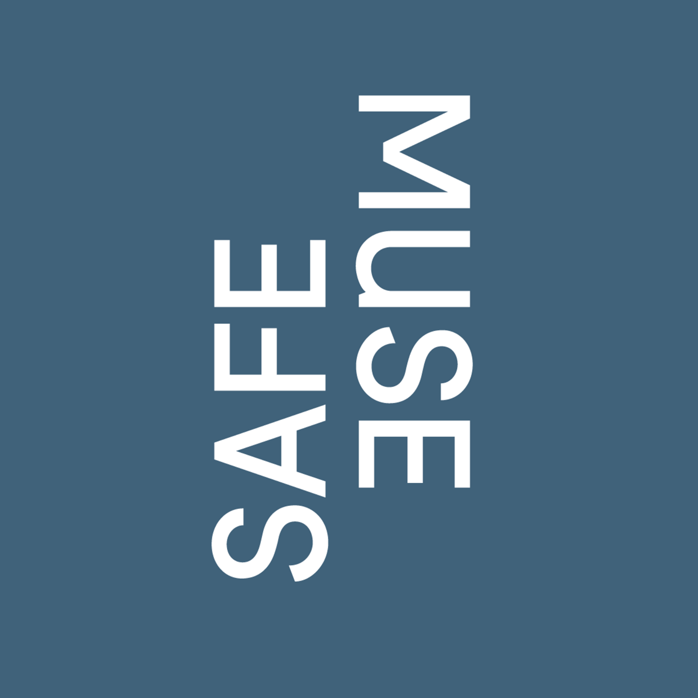 Dark blue square with white text: Safe Muse in white.
