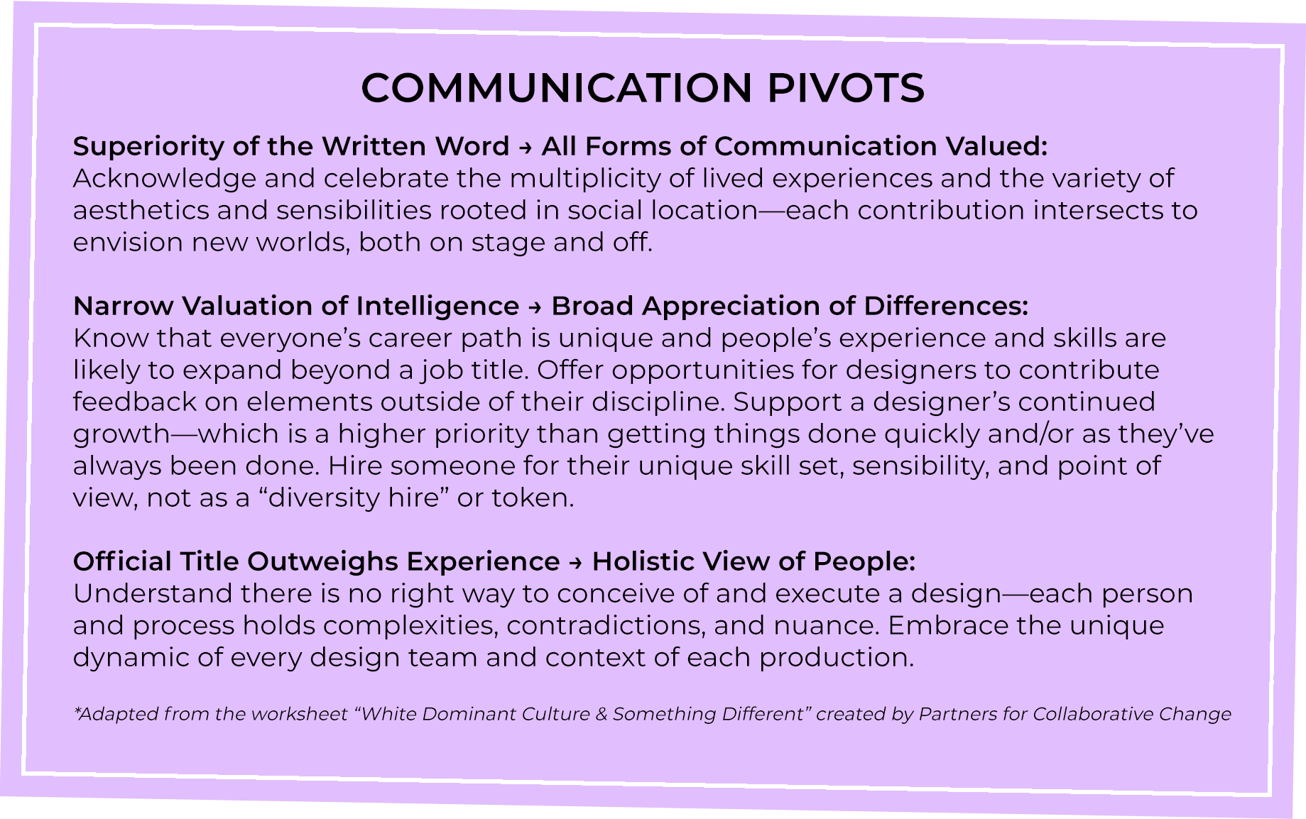 Communication Pivots Superiority of the written word > all forms of Communication Valued Narrow Valuation of Intelligence > Broad Appreciation of Differences Official Title Outweighs Experience > Holistic View of People
