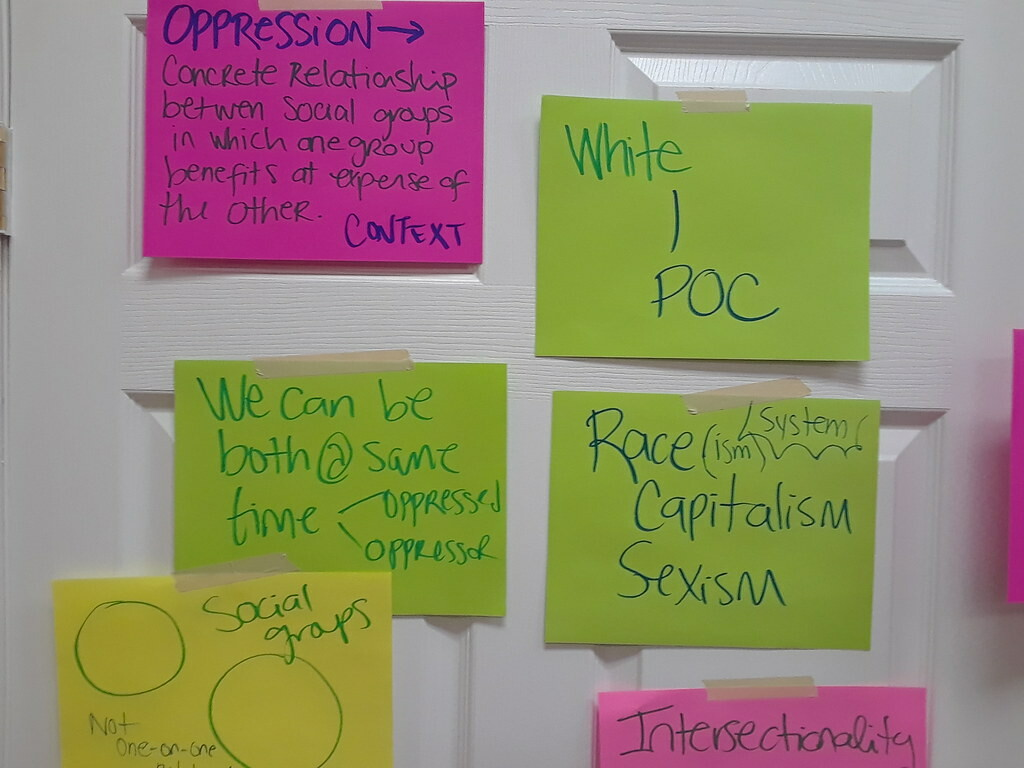 Post-it notes with writing about oppression, power dynamics, and intersectionality on them.