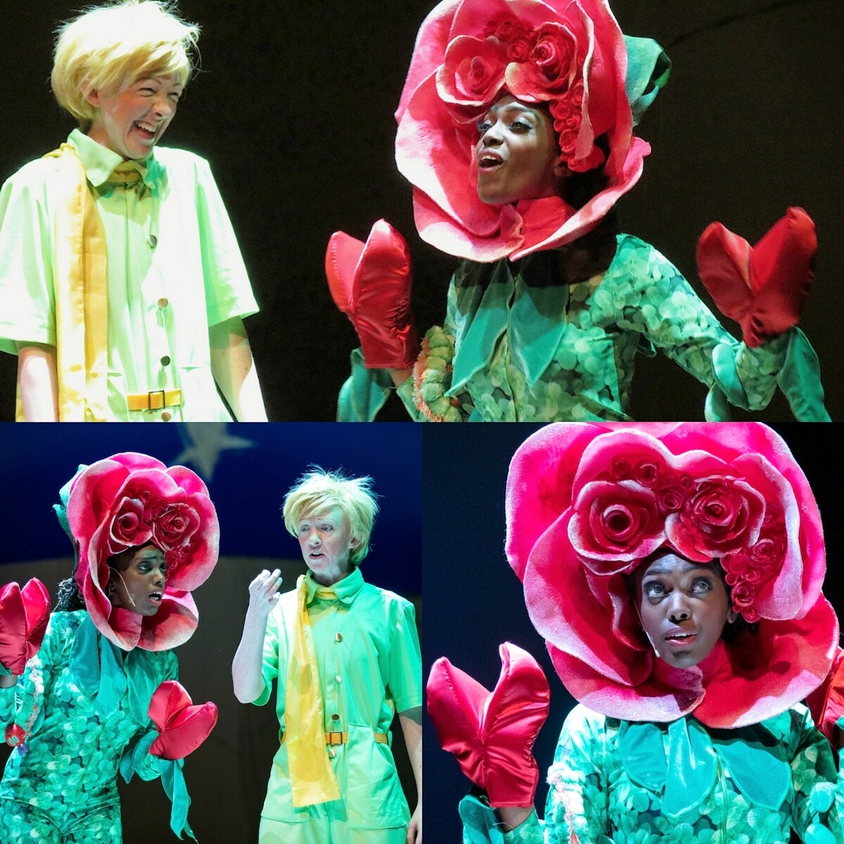 A collage of  three images featuring two actors. In each image, one actor is dressed as a flower and the other where's a bright yellow shirt, scarf with messy hair.