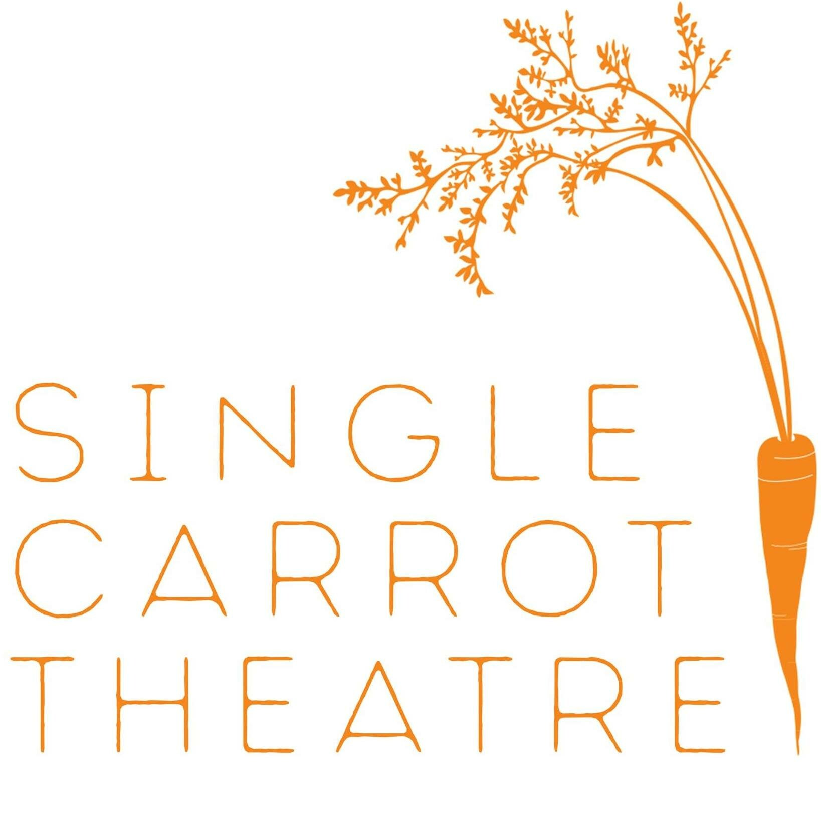illustration of a carrot with orange text single carrot theater.